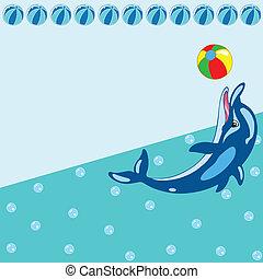 dessin animé, modèle, dauphin
