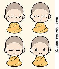 dessin animé, moine bouddhiste, illustration