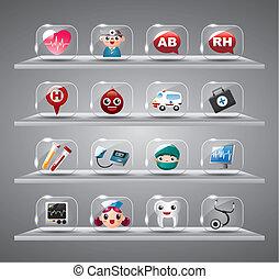 dessin animé, monde médical, et, foyer, verre, bouton