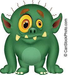 dessin animé, monstre vert