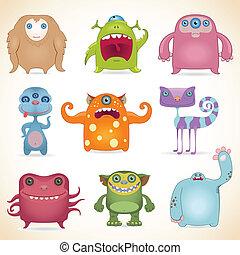 dessin animé, monstres, ensemble