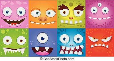 dessin animé, monstres, ensemble, expression, rigolote