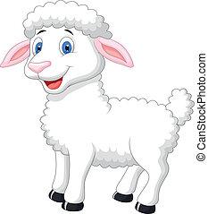 dessin animé, mouton, mignon