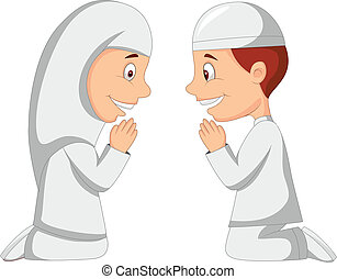 dessin animé, musulman, gosse
