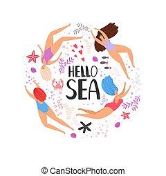dessin animé, natation, bonjour, mer, femmes