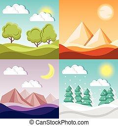 dessin animé, nature, arrière-plans, 4, la