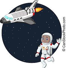 dessin animé, navette, garçon, astronaute, espace