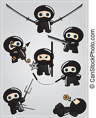 dessin animé, ninja, guerriers, mignon