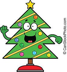 dessin animé, noël, heureux, arbre