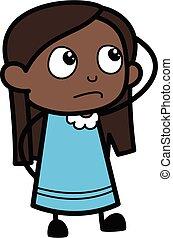dessin animé, noir, confusion, girl, pensée