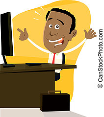 dessin animé, noir, homme affaires
