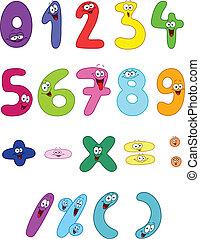 dessin animé, nombres
