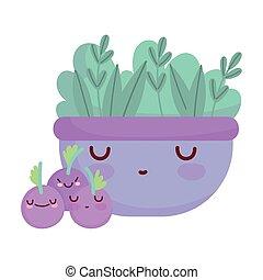 dessin animé, nourriture, myrtilles, fruits, bol, salade, caractère, mignon, menu