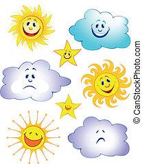 dessin animé, nuage, étoile, amusement, soleil