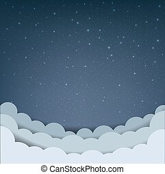 dessin animé, nuage ciel, étoiles