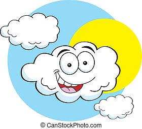 dessin animé, nuage, heureux