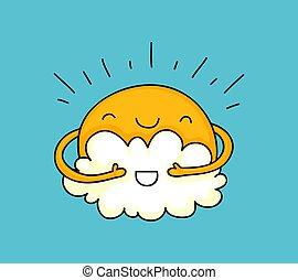 dessin animé, nuage, soleil