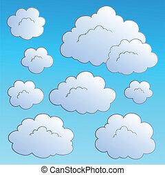dessin animé, nuages, collection, 2