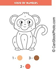 dessin animé, numbers., mignon, coloration, monkey., livre