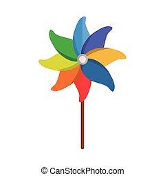 dessin animé, objet, petit, jeu, jouet, icône, plat, style, pinwheel, enfants