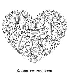 dessin animé, objets, griffonnage, vecteur, ensemble, manucure