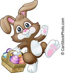dessin animé, oeufs, lapin, lapin pâques, panier