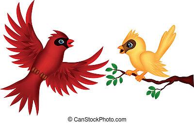 dessin animé, oiseau volant