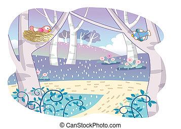 dessin animé, oiseaux, jardin