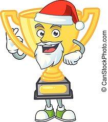 dessin animé, or, blanc, santa, trophée, arrière-plan.