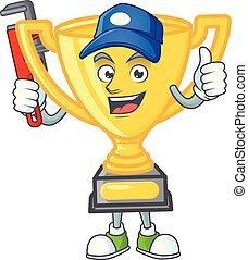 dessin animé, or, blanc, trophée, arrière-plan., plombier