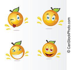 dessin animé, oranges, heureux