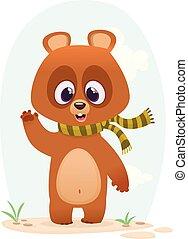 dessin animé, ours, heureux