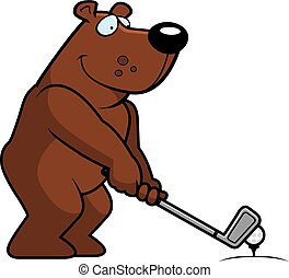 dessin animé, ours, jouer golf