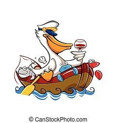 dessin animé, pélican, chapeau, captain's