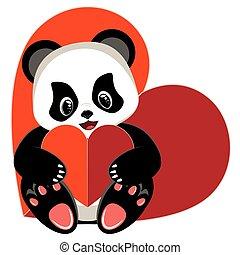 dessin animé, panda, coeur