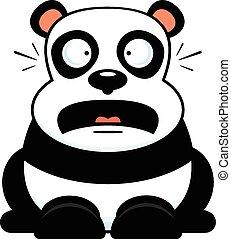 dessin animé, panda, inquiété