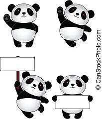 dessin animé, panda