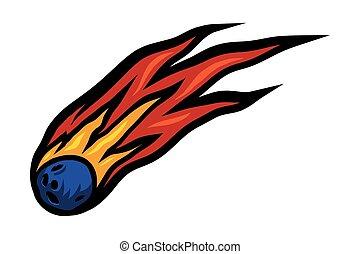 dessin animé, par, voler, comète, queue, ardent, espace