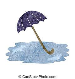 dessin animé, parapluie, retro, mouillé