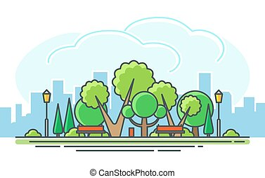 dessin animé, parc, pelouse