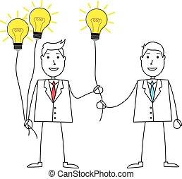 dessin animé, partage, idées, homme, complet