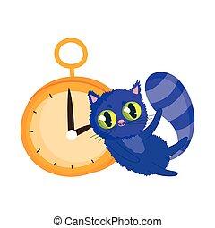 dessin animé, pays merveilles, caractère, chat, horloge