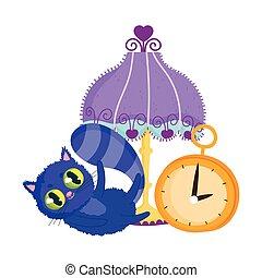 dessin animé, pays merveilles, caractère, chat, lampe, horloge