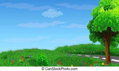 dessin animé, paysage, animation