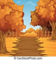 dessin animé, paysage automne, à, montagnes