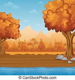 dessin animé, paysage automne, à, rivière, et, montagnes
