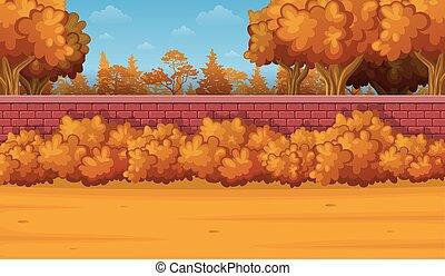 dessin animé, paysage automne