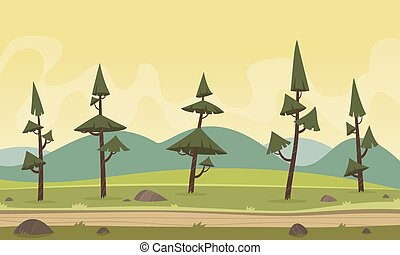 dessin animé, paysage