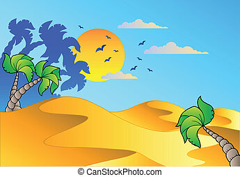 dessin animé, paysage, désert