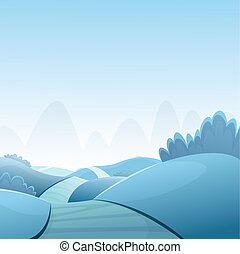 dessin animé, paysage, hiver
